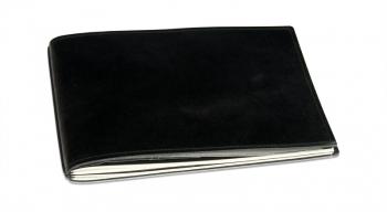 A5+ Quer Hülle 2er Leder glatt schwarz inkl. ElastiXs