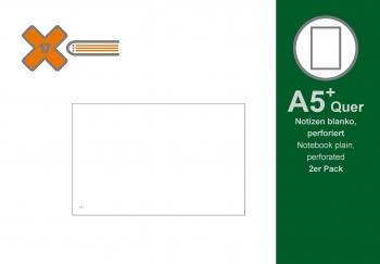 A5+ Quer Notizen, blanko, 2er Pack