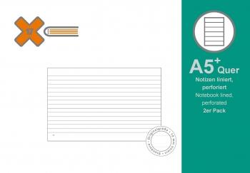 A5+ Quer Notizen liniert, 2er Pack