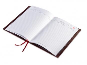 A6 1er Leder natur rot Pilger-Tagebuch, 1 Einlage