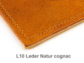 A6 2er Leder natur cognac mit Notizenmix und Doppeltasche