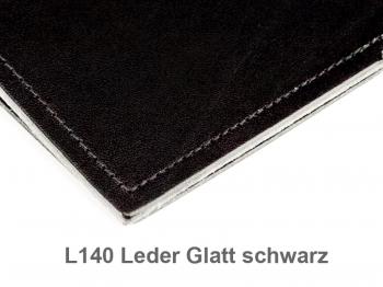A5 Hülle 4er Leder glatt schwarz inkl. ElastiXs