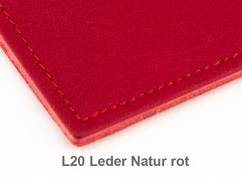 A5+ Quer 3er Leder natur rot mit Kalender 2020