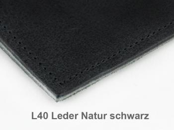 A5+ Quer 3er Leder natur schwarz mit Notizenmix