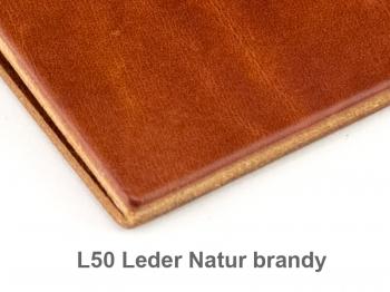 A6 3er Leder natur brandy mit Notizenmix