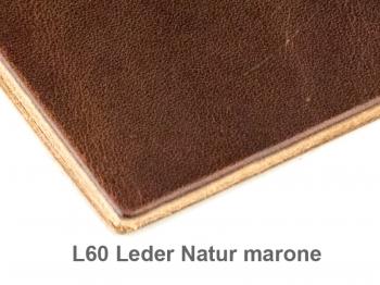 A5+ Quer 3er Leder natur marone mit Notizenmix