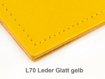 A4+ 2er Leder glatt gelb mit 2 x Notizen und Doppeltasche