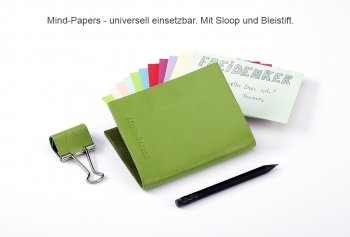A6 Mind-Papers Leder Natur, schwarz