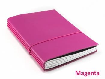 """A5 3er Notizbuch Leder glatt """"Pink-Edition"""" mit farbigen ElastiXs nach Wahl"""