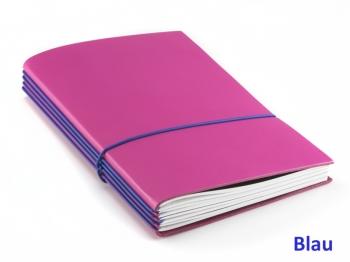 """A5 4er Notizbuch Leder glatt """"Pink-Edition"""" mit farbigen ElastiXs nach Wahl"""