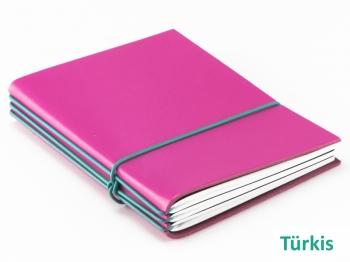 """A6 3er Notizbuch Leder glatt """"Pink-Edition"""" mit farbigen ElastiXs nach Wahl"""