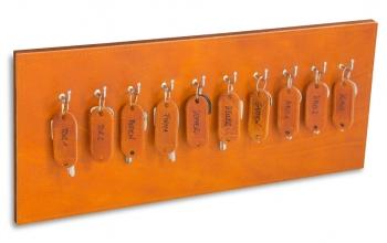 X17 Schlüsselbrett 10er Leder Natur cognac mit Ziernaht