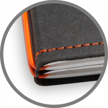 A5 4er Notizbuch Texon schwarz / orange, Notizenmix