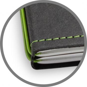 A5 3er Notizbuch Texon schwarz / grün, Notizenmix