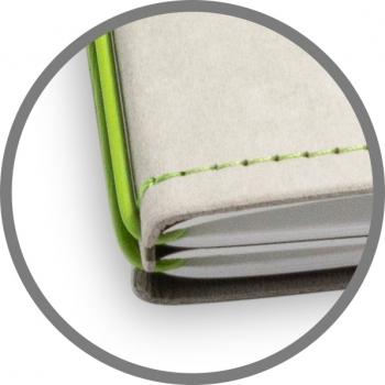 A5 4er Notizbuch Texon stone / grün, Notizenmix