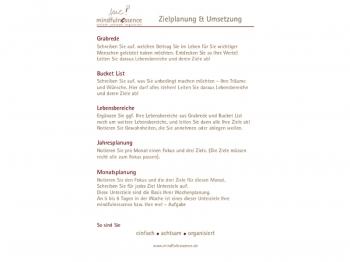 """A5 mindfulnessence """"Ziele und Umsetzung""""-Einlage"""