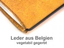 A6 Adressbuch mit Prägung Leder natur