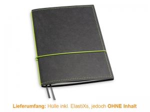 A5 Hülle 1er Texon schwarz/grün inkl. ElastiXs