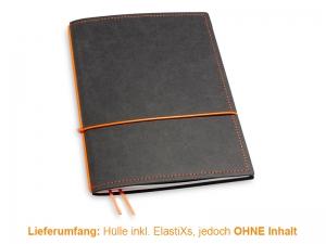 A5 Hülle 1er Texon schwarz/orange inkl. ElastiXs