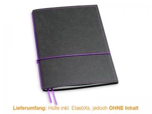 A5 Hülle 1er Texon schwarz/lila inkl. ElastiXs