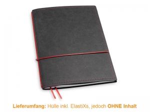 A5 Hülle 1er Texon schwarz/rot inkl. ElastiXs