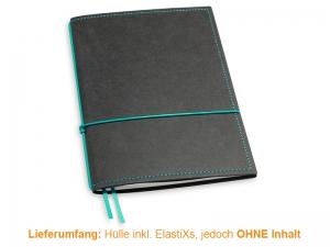 A5 Hülle 1er Texon schwarz/türkisgrün inkl. ElastiXs