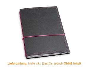 A5 Hülle 2er Texon schwarz/magenta inkl. ElastiXs