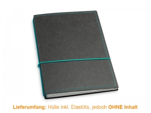 A5 Hülle 2er Texon schwarz/turkisgrün inkl. ElastiXs