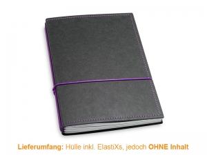 A5 Hülle 3er Texon schwarz/lila inkl. ElastiXs