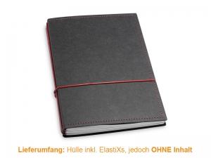 A5 Hülle 3er Texon schwarz/rot inkl. ElastiXs
