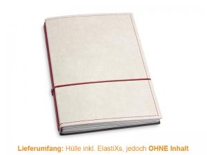 A5 Hülle 3er Texon stone/rot inkl. ElastiXs