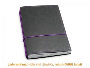 A5 Hülle 4er Texon schwarz/lila inkl. ElastiXs