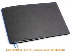 A5+ Quer Hülle 1er Texon schwarz/blau inkl. ElastiX