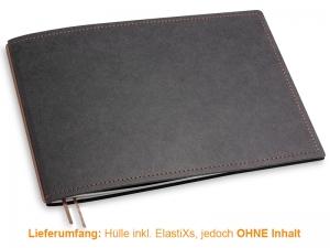 A5+ Quer Hülle 1er Texon schwarz/braun inkl. ElastiX