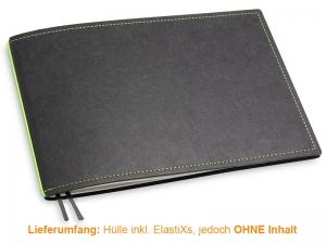 A5+ Quer Hülle 1er Texon schwarz/grün inkl. ElastiX