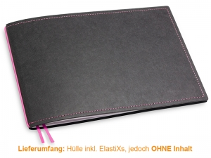 A5+ Quer Hülle 1er Texon schwarz/magenta inkl. ElastiX