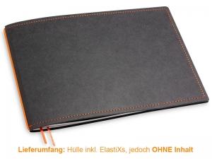 A5+ Quer Hülle 1er Texon schwarz/orange inkl. ElastiX