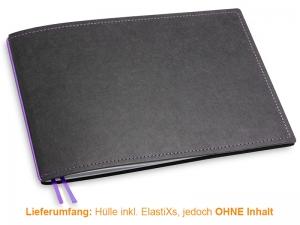 A5+ Quer Hülle 1er Texon schwarz/lila inkl. ElastiX