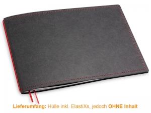 A5+ Quer Hülle 1er Texon schwarz/rot inkl. ElastiX
