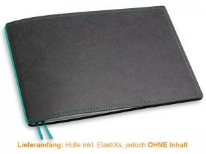 A5+ Quer Hülle 1er Texon schwarz/türkisgrün inkl. ElastiX