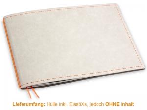 A5+ Quer Hülle 1er Texon stone/orange inkl. ElastiX