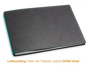 A5+ Quer Hülle 2er Texon schwarz/türkisgrün inkl. ElastiXs