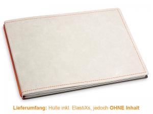 A5+ Quer Hülle 2er Texon stone/orange inkl. ElastiXs