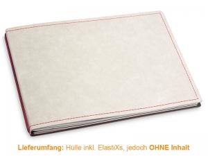 A5+ Quer Hülle 2er Texon stone/rot inkl. ElastiXs