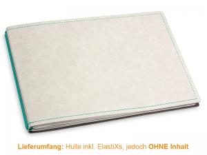 A5+ Quer Hülle 2er Texon stone/türkisgrün inkl. ElastiXs