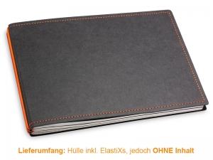 A5+ Quer Hülle 3er Texon schwarz/orange inkl. ElastiXs