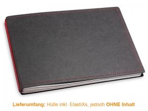 A5+ Quer Hülle 3er Texon schwarz/rot inkl. ElastiXs