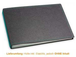A5+ Quer Hülle 3er Texon schwarz/türkisgrün inkl. ElastiXs