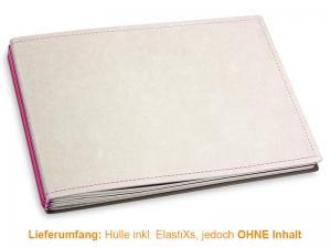 A5+ Quer Hülle 3er Texon stone/magenta inkl. ElastiXs