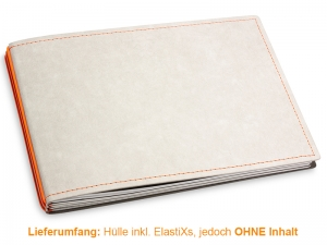 A5+ Quer Hülle 3er Texon stone/orange inkl. ElastiXs